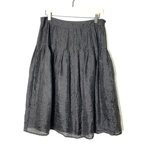WD-NY black silk pleated wrinkle skirt